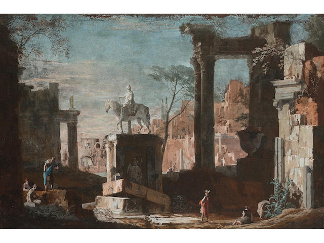 Marco Ricci, Figures amongst ruins with an equestrian statue
