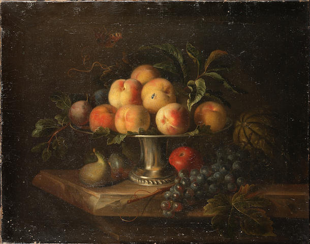 Tobias Stranover (Sibiu 1684-after 1731 London) Peaches on a silver tazza with a melon, an apple, grapes and figs on a stone ledge 48 x 61.1 cm. (19 x 24 in.)