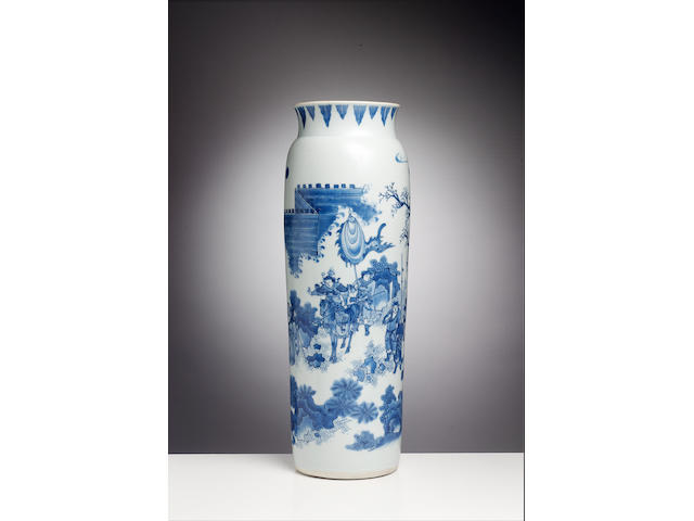 A fine Transitional blue and white rolwagen vase Circa 1640