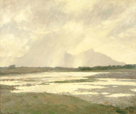 "Edward Roworth, (South African, 1880-1964) ""Sun gleams, Reit Vlei, Cape Flats"", South Africa 60.3 x 71.2 cm."