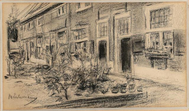 Max Liebermann (1847 - 1935) Stevenstift in Leiden, Juli 1900 charcoal 11.5 x 19.5cm. (4 1/2 x 7 5/8 in.)