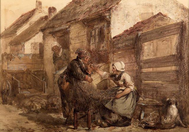 Herman FC Ten Kate (Dutch, 1822-1891) Mending the Nets 20x29cm