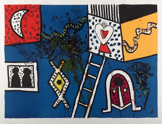 Alan Davie CBE (b1920) Moon, figures, heart and ladder 63x81cm