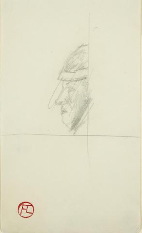 Henri de Toulouse-Lautrec (1864-1901) Tête de Femme/Homme de profil