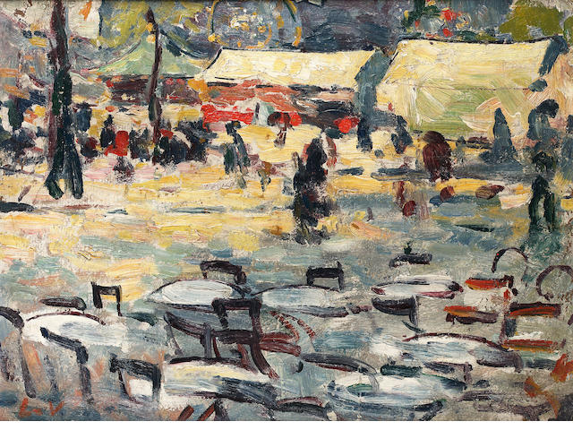 Louis Valtat (1869-1952)  La Terrasse du Café devant le Cirque de Rouen oil on board 28 x 36cm (11 x 14 1/8 in.)