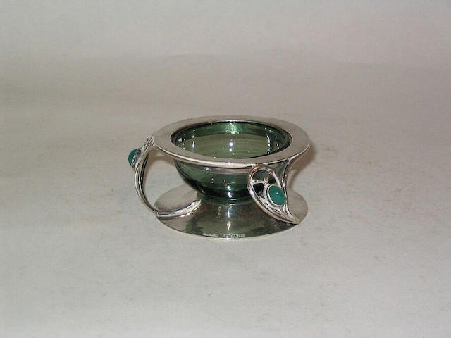 Charles Robert Ashbee, attributed, for Guild of Handicraft, 1900 A Silver and Chrysoprase Mustard Pot