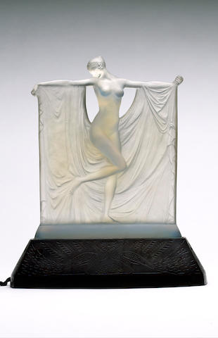 René Lalique, design 1925 'Suzanne' a Frosted and Opalescent Statuette on Stand