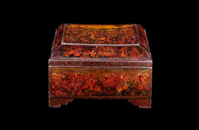 A large Qajar lacquer papier mache Box Persia, 19th Century