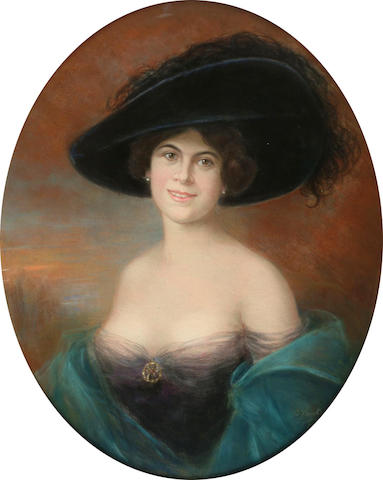 Carl Vautier (Swiss, b.1860) Portrait of a lady in a wide brimmed hatsigned, pastel, within an oval mount