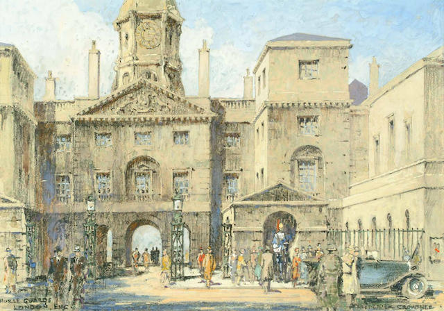 Frederick Crowther Horse Guards Parade 27 x 38cm