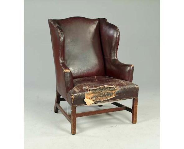 A George III wingback armchair