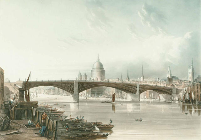 Thomas Sutherland After J. Gendall, Southwark Iron Bridge, as seen from Bankside, image 349 x 490mm.