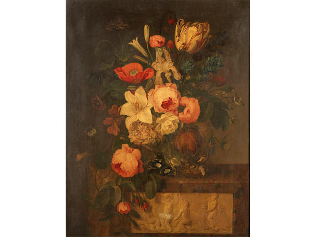 Michael Joseph Speeckaert, Still life of flowers in an urn on a stone ledge with starlings in a nest