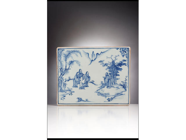 A very fine and rare Ming blue and white rectangular plaque Chenghua