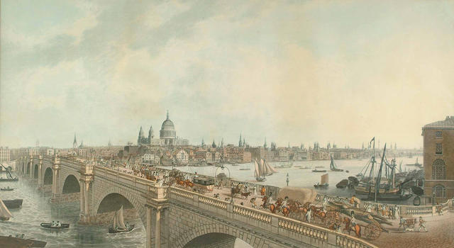 Joseph Constantine Stadler View of London taken from Albion Place, Blackfriars Bridge, image 482 x 872mm