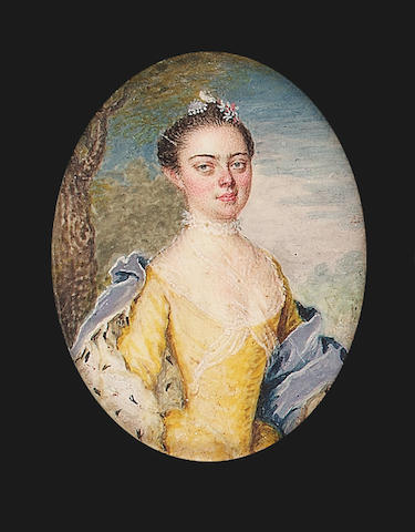 Austrian School, A Noblewoman, wearing yellow figured dress, white gauze fichu and neck-ruff and ermine-lined blue cape, her upswept brown hair with flower decoration, landscape background and a portrait of a gentleman wearing a blue cap (2)
