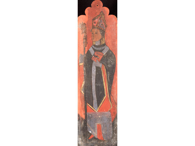 English School, 15th Century Saint Helen; Saint Etheldreda; Saint Sidwell; and a Bishop with a Serpent