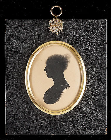 William Alport, A silhouette of Mrs. A. Maister, profile to the left, her hair in a top-knot; together with a silhouette of a Gentleman by Adolphe and a Lady by White (3)