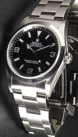 Rolex. A stainless steel automatic wristwatch with presentation box and papers and spare links'Explorer' Ref:14270, 1998