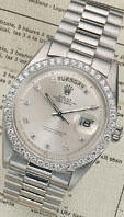 "Rolex. A fine and rare platinum and diamond set automatic centre seconds calendar watch ""Day-Date"" Ref:1804, 1960s"