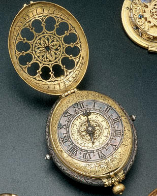 A late 16th century German brass and silver oval verge clockwatch with stackfreed and alarm The backplate stamped with the shield of Strasburg, circa 1580, later restorations