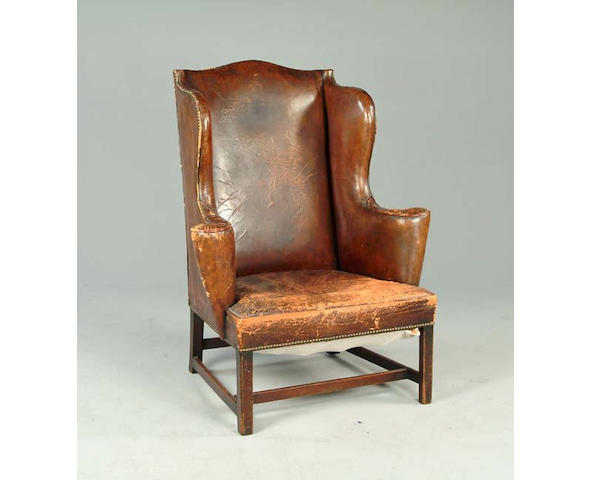 A George III wing back armchair