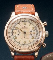 Rolex. A rare 18ct pink gold chronograph wristwatchRef:3525, 1940s