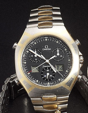 Omega. A limited edition stainless steel and gold quartz chronograph wristwatch 'Seamaster' Official