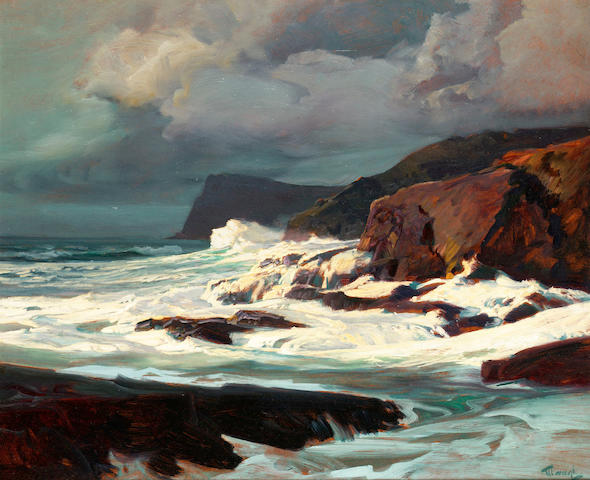 Frederick Judd Waugh (American, 1861-1940) oil on board 63.5 x 76.2 cm. (25 x 30 in.)