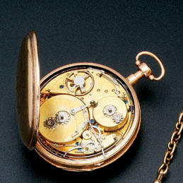 A first half of the 19th century French 18ct gold musical and quarter repeating watch unsigned
