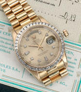 Rolex. An 18ct gold automatic centre seconds diamond set calendar watch Day-Date. Ref:18038, 1980s