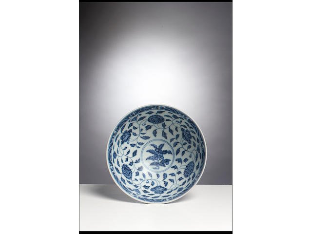 A rare Ming blue and white lotus bowl, lianzi wan Xuande six-character mark and of the period