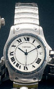 Cartier. A stainless steel automatic calendar wristwatch Santos Ronde, case number C40227, circa 199