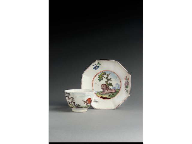 A Chelsea octagonal teabowl and saucer circa 1752-54