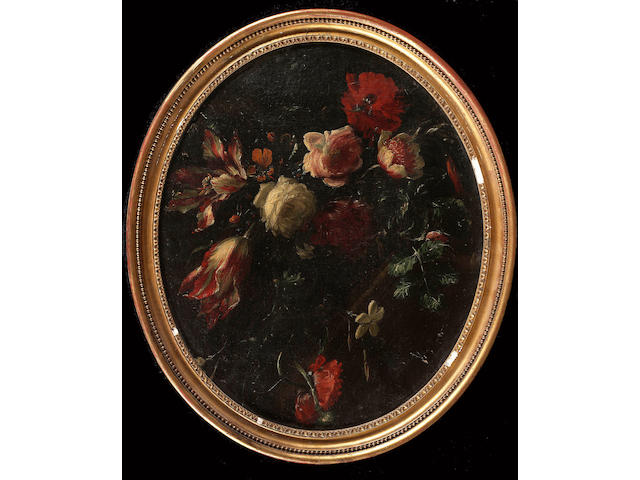 Attributed to Giuseppe Vicenzino, Carnations, roses and other flowers above a carved stone shell; an