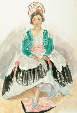 Henri Lebasque (French, 1865-1937) Rosena in traditional dress 60 x 40 cm.