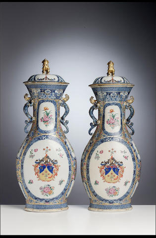 A large pair of famille rose armorial vases and covers for the Swedish market Qianlong, circa 1770