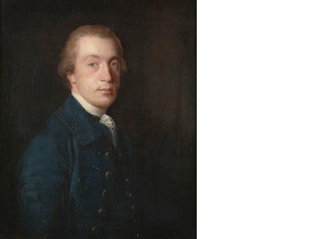 Sir Joshua Reynolds P.R.A., Portrait of a gentleman, half-length, in a blue coat and a white stock,