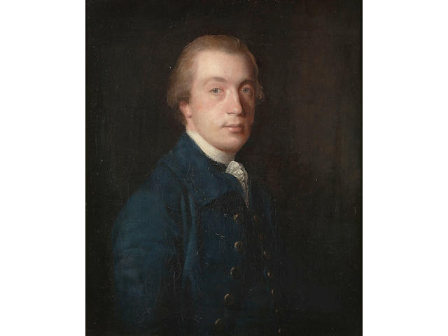 Sir Joshua Reynolds P.R.A., Portrait of a gentleman, half-length, in a blue coat and a white stock, 75.6 x 63.2 cm. (29¾ x 24 7/8 in.)