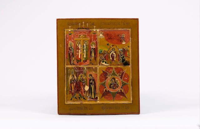 A Russian quartered icon, 19th century with, the raising of the true cross, Elijah's ascent, the Ann