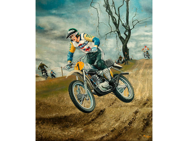 Rod Organ - a painting of 500cc Motocross Championship winner Graham Noyce,