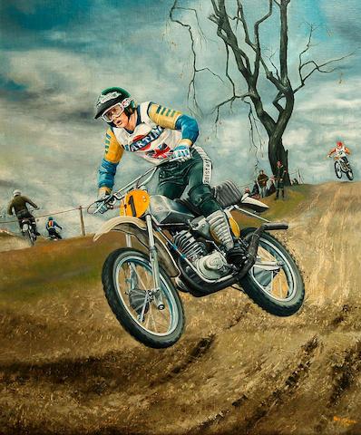 Rod Organ - a painting of 500cc Motocross Championship winner Graham Noyce,