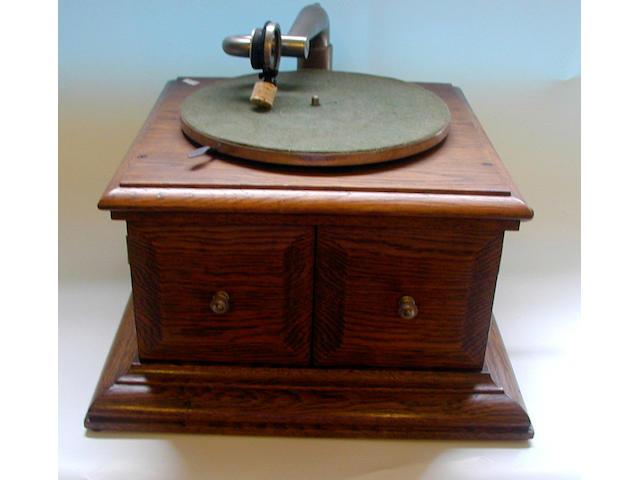 An HMV table top gramophone,