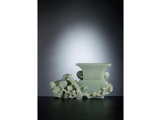 A fine inscribed celadon jade vase group Qianlong