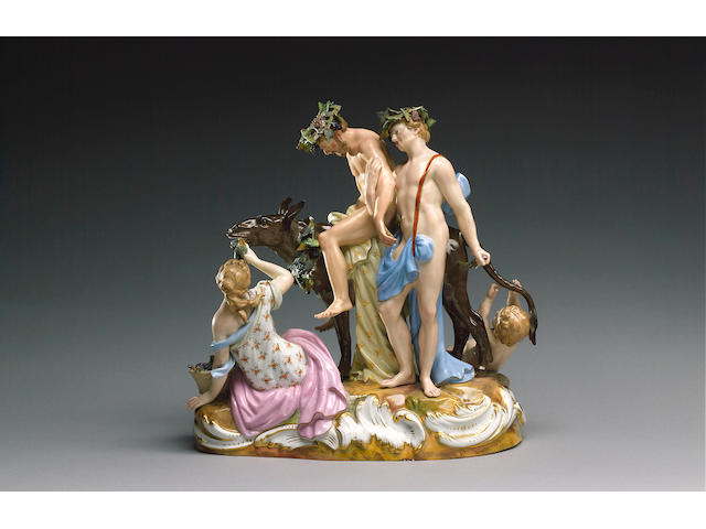 A Meissen group of the drunken Silenus, circa 1860,