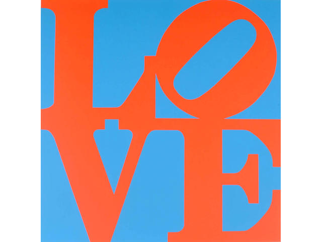 Robert Clark Indiana (American, b.1928) Red and Blue Love, 45 x 45cm