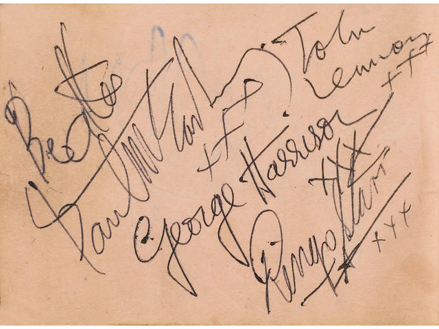 Autographs of The Beatles 1960's