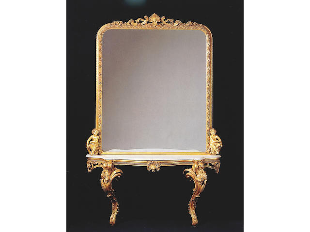 A large mid Victorian giltwood and gesso pier mirror and table