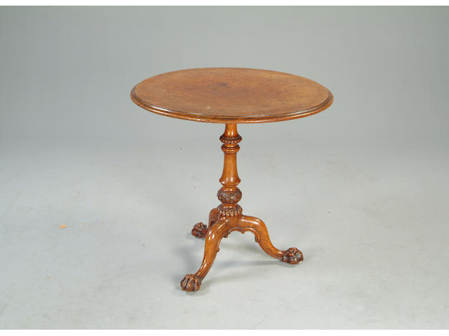 A Victorian pollard oak tripod table