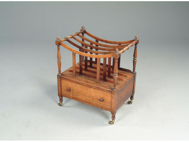A George IV rosewood four section canterbury